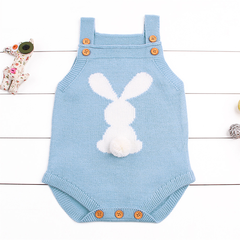 CieiK Bunny Knit Sleeveless Baby Romper 2018 Spring Newborn Girl Boy Clothes Cute Soft Costume Infantil Overall Toddler Sweater spring baby romper infant boy bear romper newborn hooded animal clothes toddler cute panda romper kid girl jumpsuit baby costume