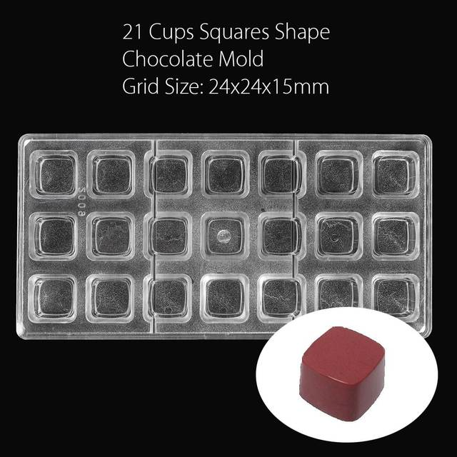 Chocolate Mold Polycarbonate 21 Cups Squares Handmade