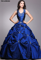 Ready To Ship Real Photos Taffeta Navy Blue Quinceanera Dresses Ball Gowns Halter Neckline Floor Length