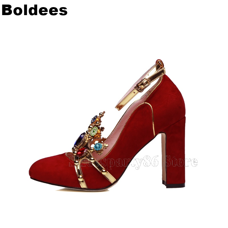 Women Pumps 2019 Red Suede Leather Jewel Gem Decorate Block Heeled Pumps Weddding Party Dress Shoes Zapatos Mujer Plus Size цены онлайн
