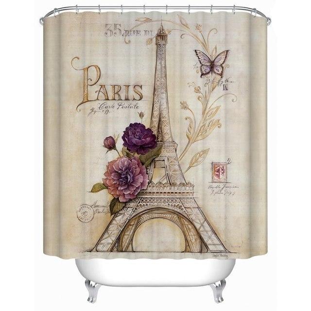 US 30 OFF Vintage Paris Themed Bluish Brown Eiffel Tower Bathroom Shower Curtain Purple Flower Custom Polyester Fabric Bath Decorative In