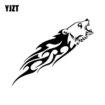 YJZT 15.6CM*12.9CM Bear Flame Fashion Car Sticker Bumper Decorate Vinyl Decal Black/Silver C4-1350 image