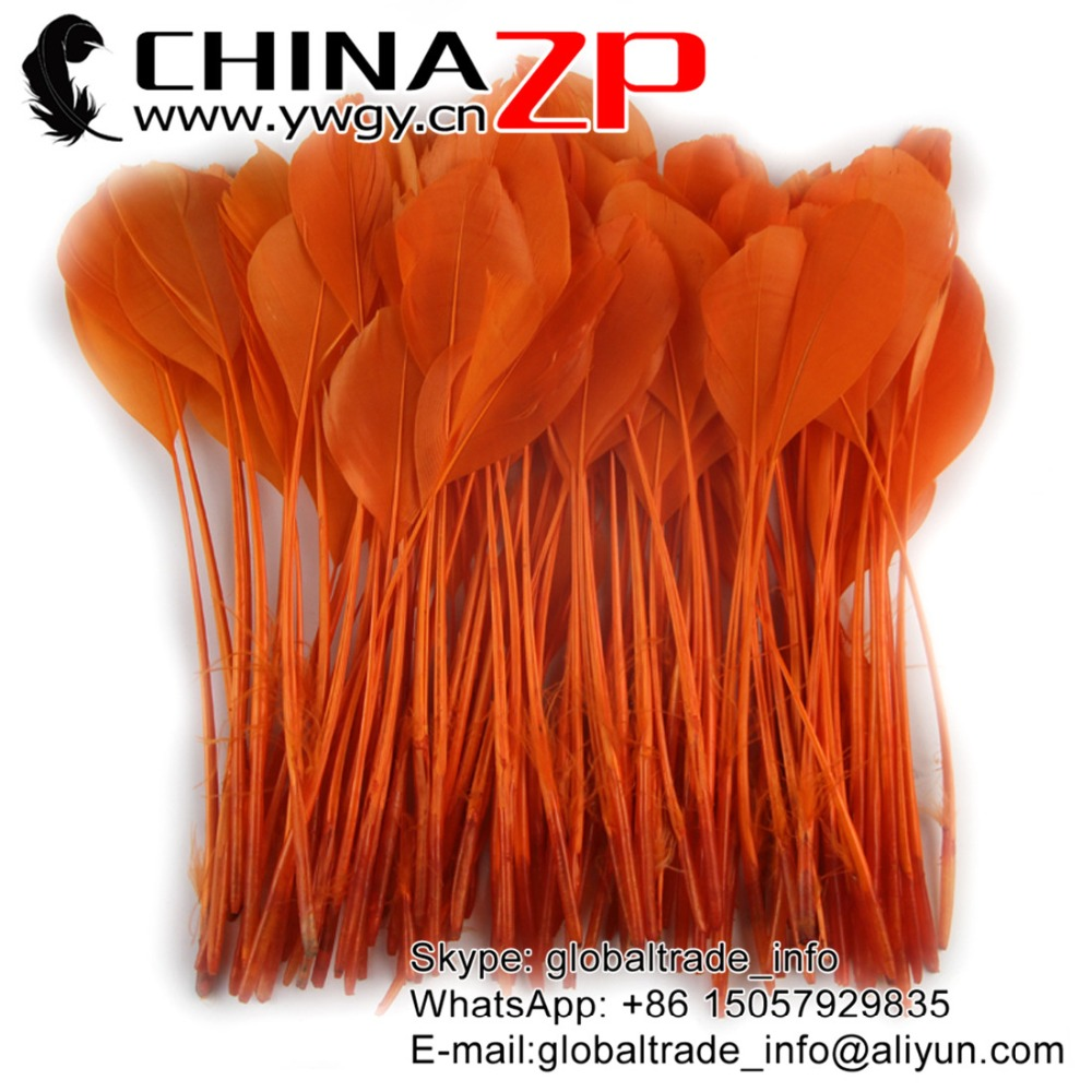 Gold Supplier CHINAZP Factory 100pcs/lot 15~20cm(6~8inch) Best Quality Dyed Orange Stripped Goose Feathers