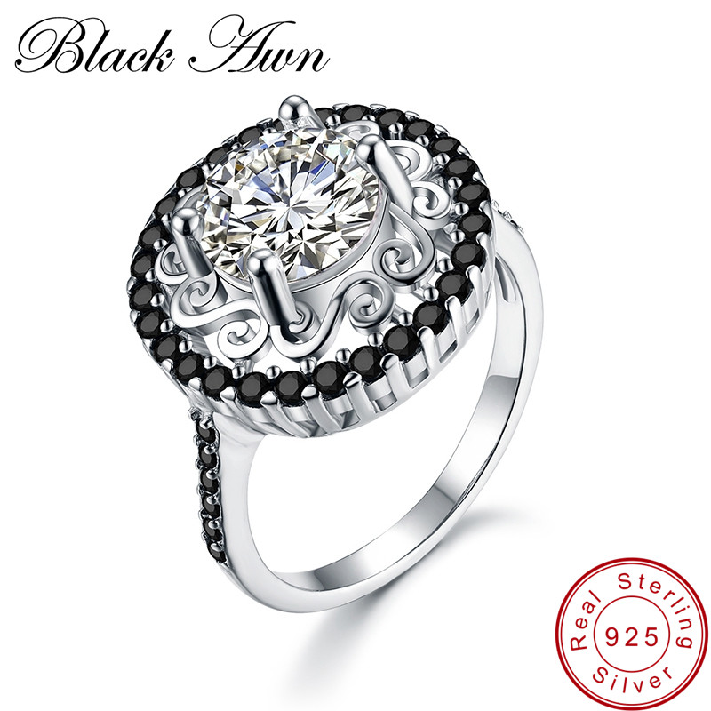 [BLACK AWN] 925 Sterling Silver Fine Jewelry Trendy Flower Engagement Rings For Women Black Spinel Wedding Ring C046