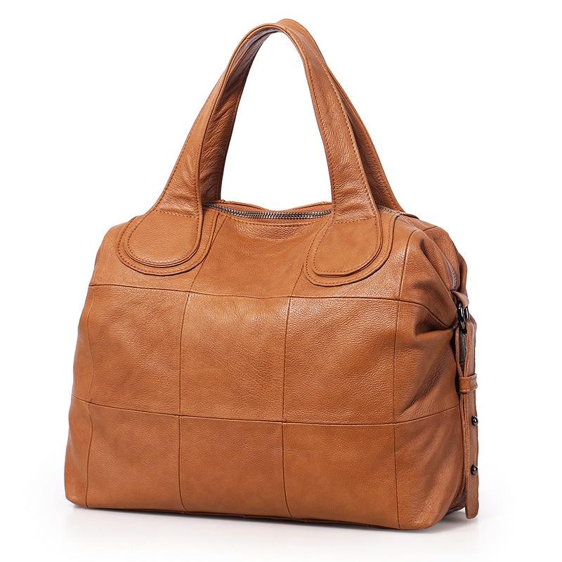 Sharasuna 2018 New Vintage Plaid Womens Handbags Genuine Leather Top-Handle Bag Ladies Shoulder Bags Women Tote Crossbody Bags
