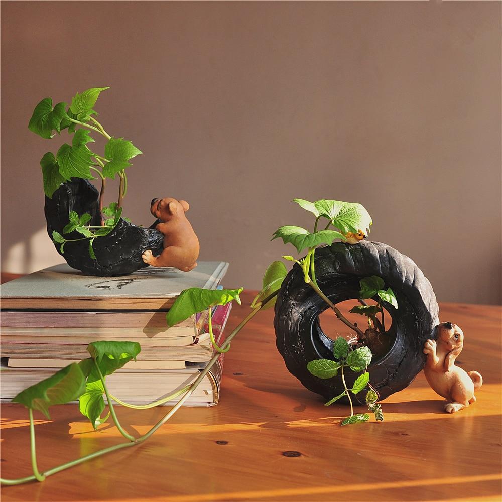 Image 5 - Everyday Collection Cute Dog Animal Decorative Flowerpot Succulent Artificial Green Plants Fairy Garden Pot Modern Home Decor-in Flower Pots & Planters from Home & Garden