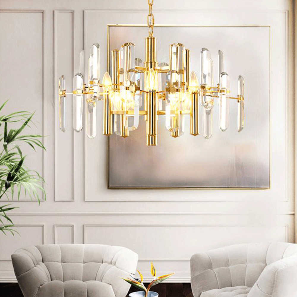 Contemporary K9 Crystal Chandelier Lighting Modern Round Cristal Chandeliers LED Hanging Light for Living Dining Room Restaurant