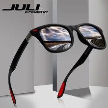 d3908225375da JULI Marca Diseño clásico polarizado gafas de sol hombres TR90 marco  cuadrado gafas de sol hombre conducción gafas UV400 gafas