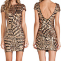 2017 Backless Gold/Silver/Black Sequin Sexy Coctail Cheap Bodycon Dresses Short Party Prom Gown Girls Robe De Soiree VestidoGG50