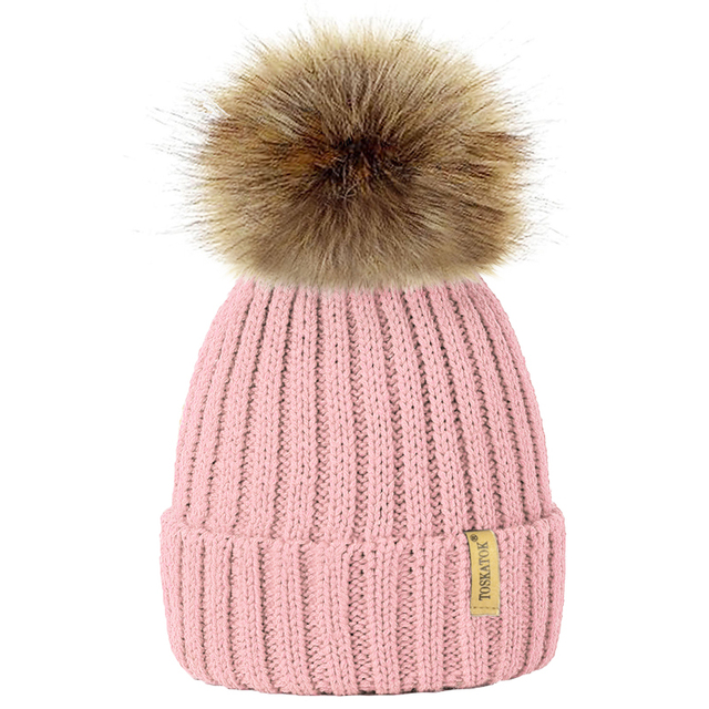 2391a174d80 Fur Pompon Winter Hat Men Skullies Beanies Women Warm Cap Knit Beanie  Children Fur Pom Pom Hats Girls Boys Gorros Mujer Invierno
