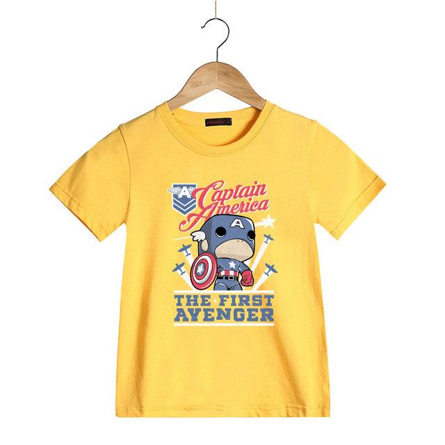Dessin Animé D'été À Manches Courtes O-cou T Chemises pour Enfants Enfants Captain America Imprimer Garçons Filles 100% Coton D'été T-shirt