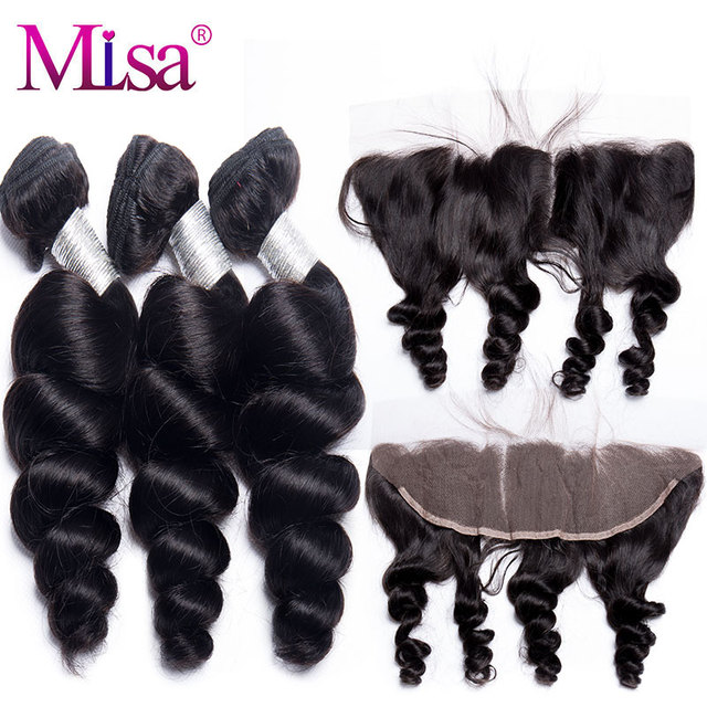 Brazilian Loose Wave Bundle With Closure 3 Bundle Human Hair Weave Remy Mi Lisa Hair Ear to Ear Lace Frontal Closure With Bundle