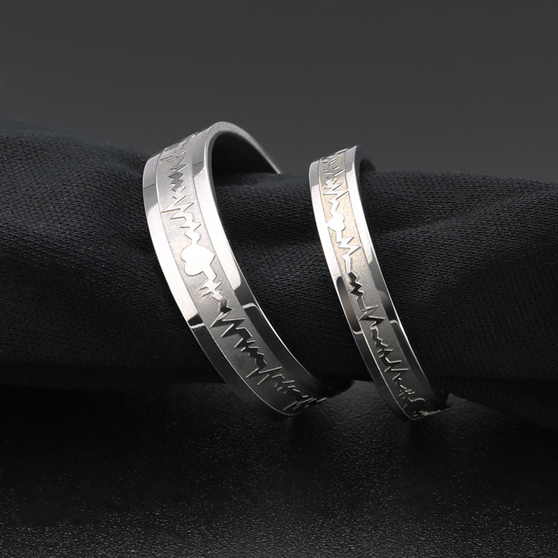 1Pcs Classic Titanium Steel Ring Electrocardiogram Wave heartbeat Ring Wedding Couples Rings Bijouterie for Man or Woman Gift(China)