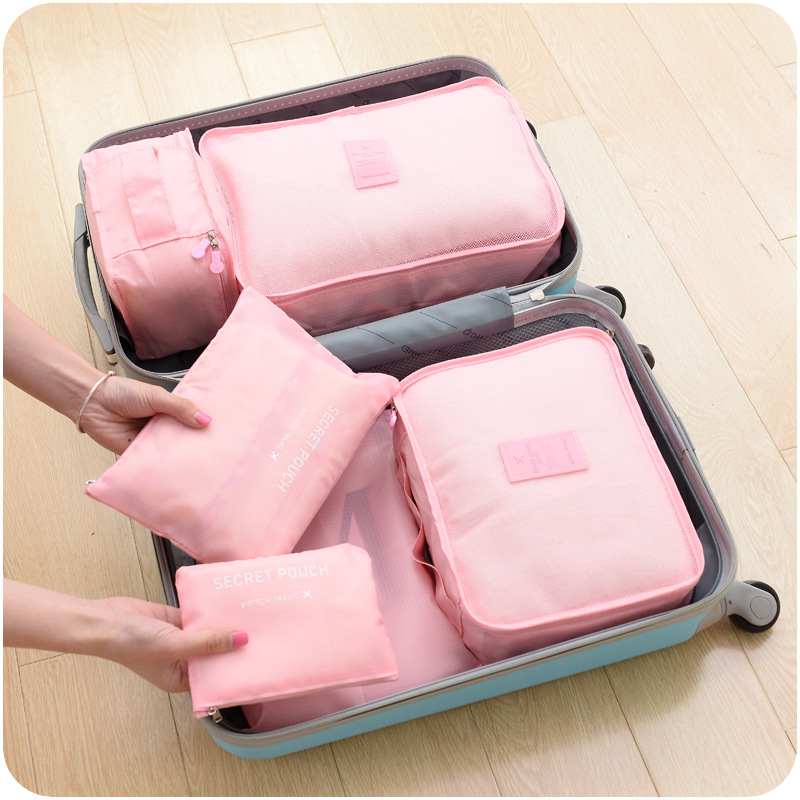 collection bag travel bag set  6pcs/set Men and Women Luggage Travel Bags Waterproof Polyester Bag  packaging baggage