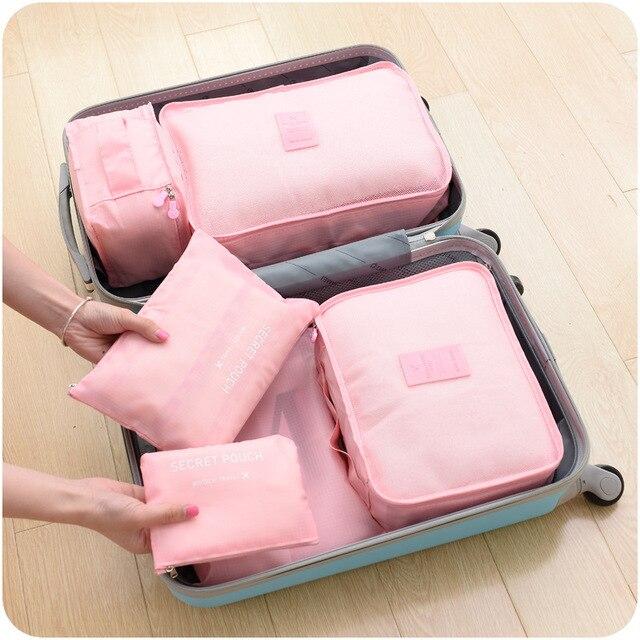 collection bag travel bag set  6pcs/set Men and Women Luggage Travel Bags Waterproof Polyester Bag  packaging baggage