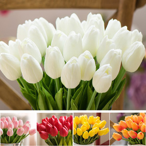 1pcs Yellow Real Touch Tulip Flower Wedding Bride Flower White Mini Artificial Tulips For Home Hotel Decoration Party Supplies
