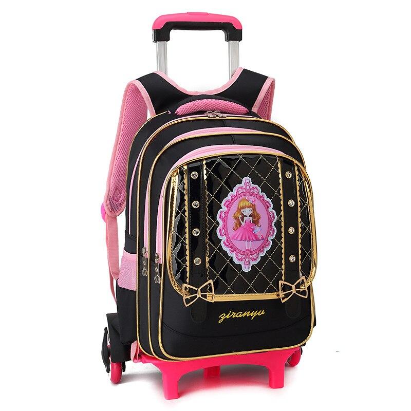 Дети Съемный Тележка школьный рюкзак сумка на колесах детская школьная сумка девушки Дорожные сумки принцессы для школьного рюкзака Mochilas