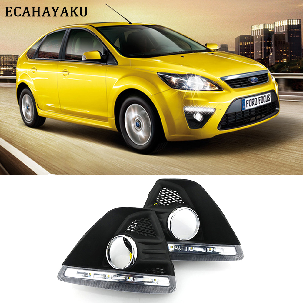 Super-bright led Daytime Running Light Car Styling fog lamps Cover DRL for Ford Focus Hatchback 2009 2010 2011 2012 2013