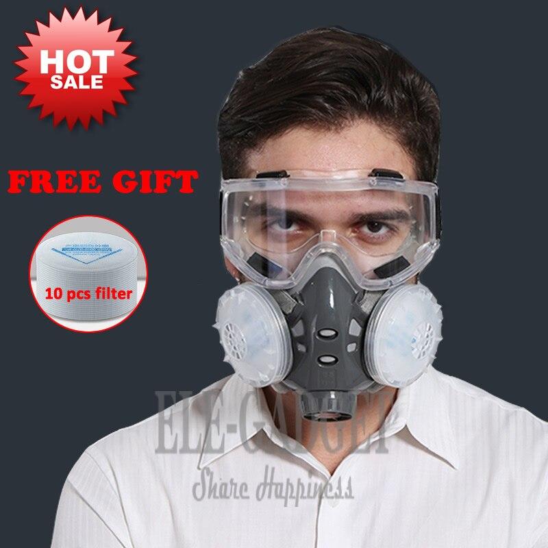 Nuevo máscara de polvo respirador doble filtro media máscara facial con gafas de seguridad para carpintero constructor pulido a prueba de polvo + 10 filtros