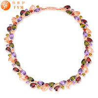 FYM New High Quality Luxury Cubic Zirconia Colorful Stone Necklaces Rose Gold Color Gifts Jewelry for Women Party Wholesale