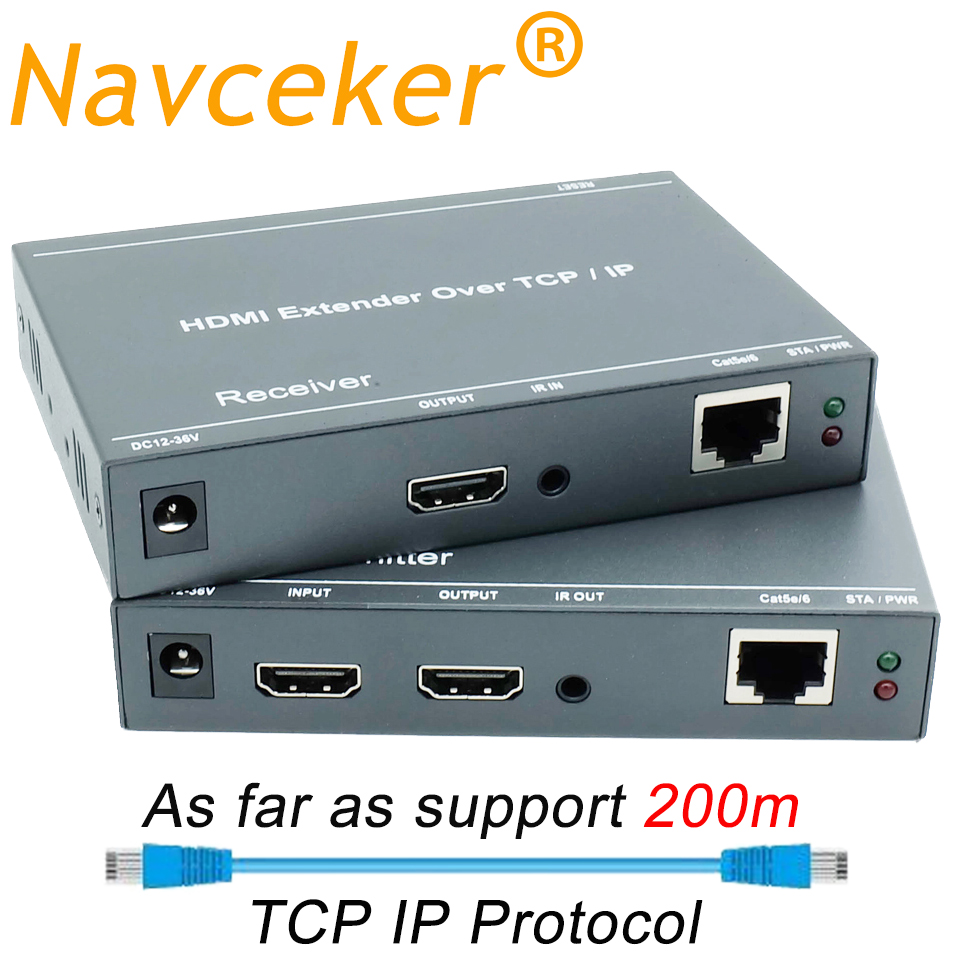2020 ZY-DT209 RJ45 HDMI Extender IP Over UTP/STP CAT5 CAT5e CAT6 Extensor HDMI With IR LAN Network 200m HDMI Extender Ethernet
