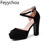 Women Shoes Sandals Summer 2018 Platform Sandals Plus Size 34 43 Ankle Strap High Heel Shoes Sexy Party Shoes Black Beige Red