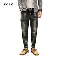 2018 nuevos pantalones de los hombres de Europa y Estados Unidos elástico ocasional jeans tether pantalones cintura Cabestro pantalones Tamaño 28-34 36 38 40 42