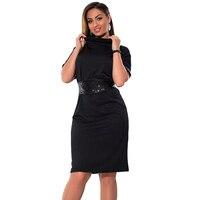 6xl נשים בתוספת גודל גבוה צוואר שרוול קצר נצנצים שמלת עיפרון שמלות משרד Elegent 2XL 3XL 4XL 5XL גודל גדול אדום שחור שמלת