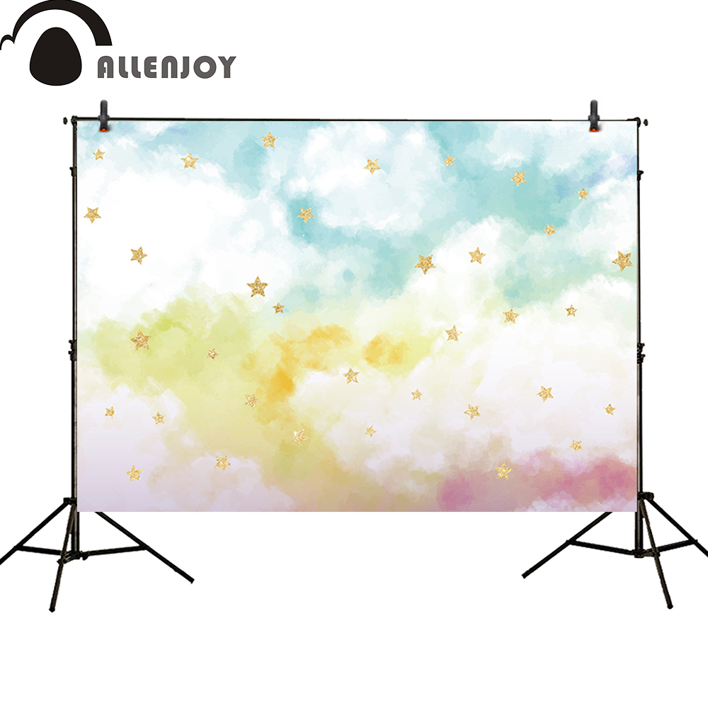 Allenjoy photography backdrop watercolor colorful cloud sky Golden shiny stars photo studio background baby shower allenjoy backdrop spring background green grass light bokeh dots photocall kids baby for photo studio