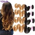 10a grade virgin unprocessed ombre human hair 4 bundles brazilian body wave two tone brazilian weave hair sunlight hair company