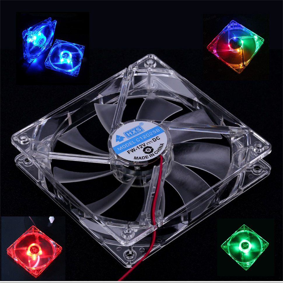 Cooling Fan PC Computer Fan Quad 4 LED Light 120mm PC Computer Case Cooling Fan Mod Quiet Molex Connector Easy Installed Fan 12V