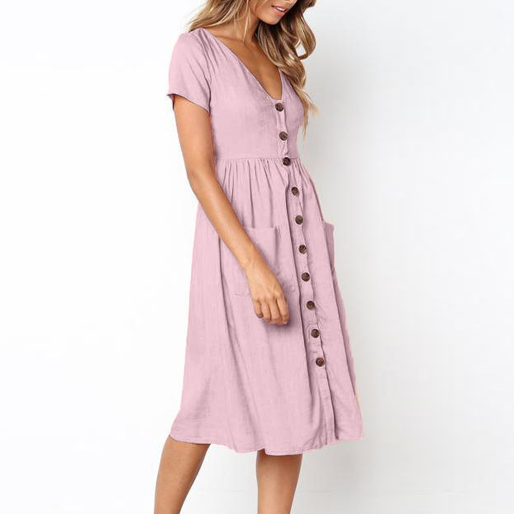 vestido de mujer Womens Holiday Summer Beach Solid short Sleeve Buttons Party Dress femme robe