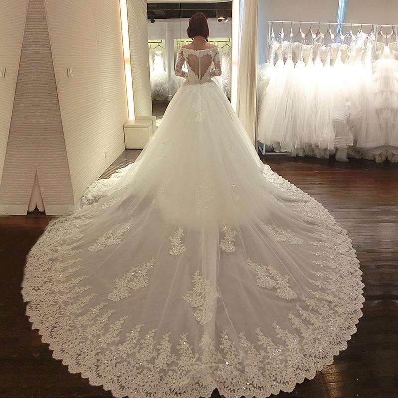 Luxurious Vestido De Noiva 2019 Muslim Wedding Dresses Ball Gown Long Sleeves Tulle Lace Beaded Dubai Arabic Wedding Gown Bridal