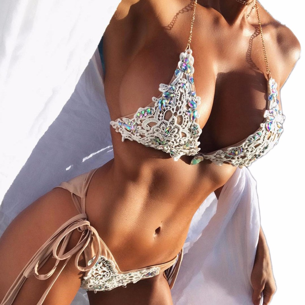 Sexy Häkeln Schmuck Bikini Set zwei stücke Badeanzug weibliche Spitze Bademode Kristall Diamant bikinis Frauen badeanzug schwimmen tragen