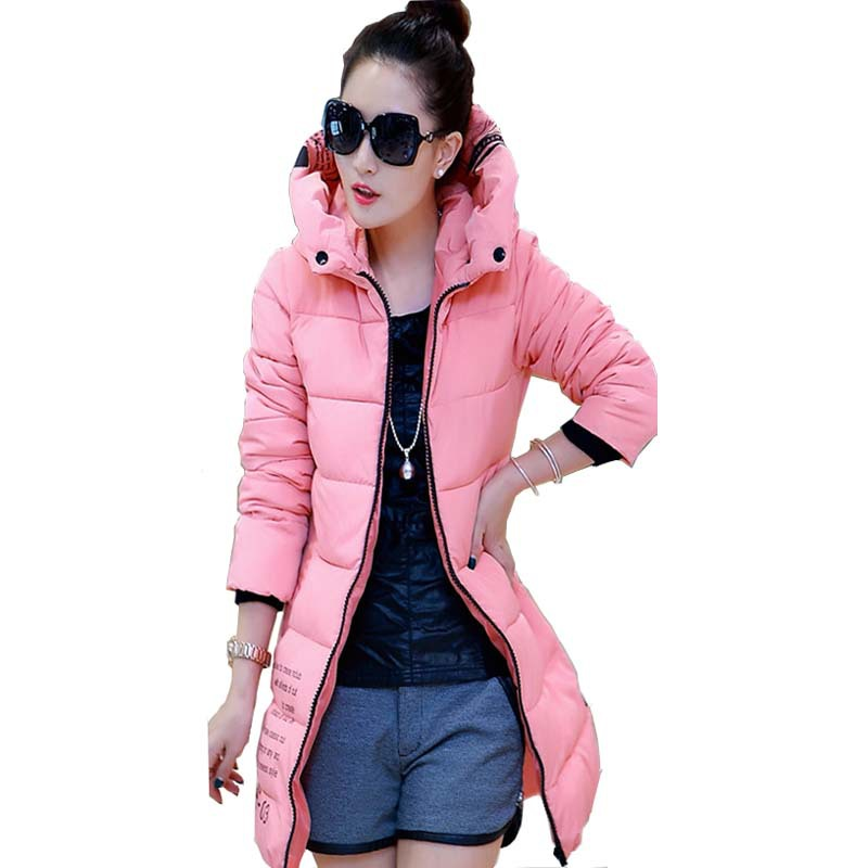 2016 Wadded Jacket Female Wnter Jacket Women Outerwear Slim Jackets Long Cotton-Padded Pink Coats Print Plus Size Coat LPK005