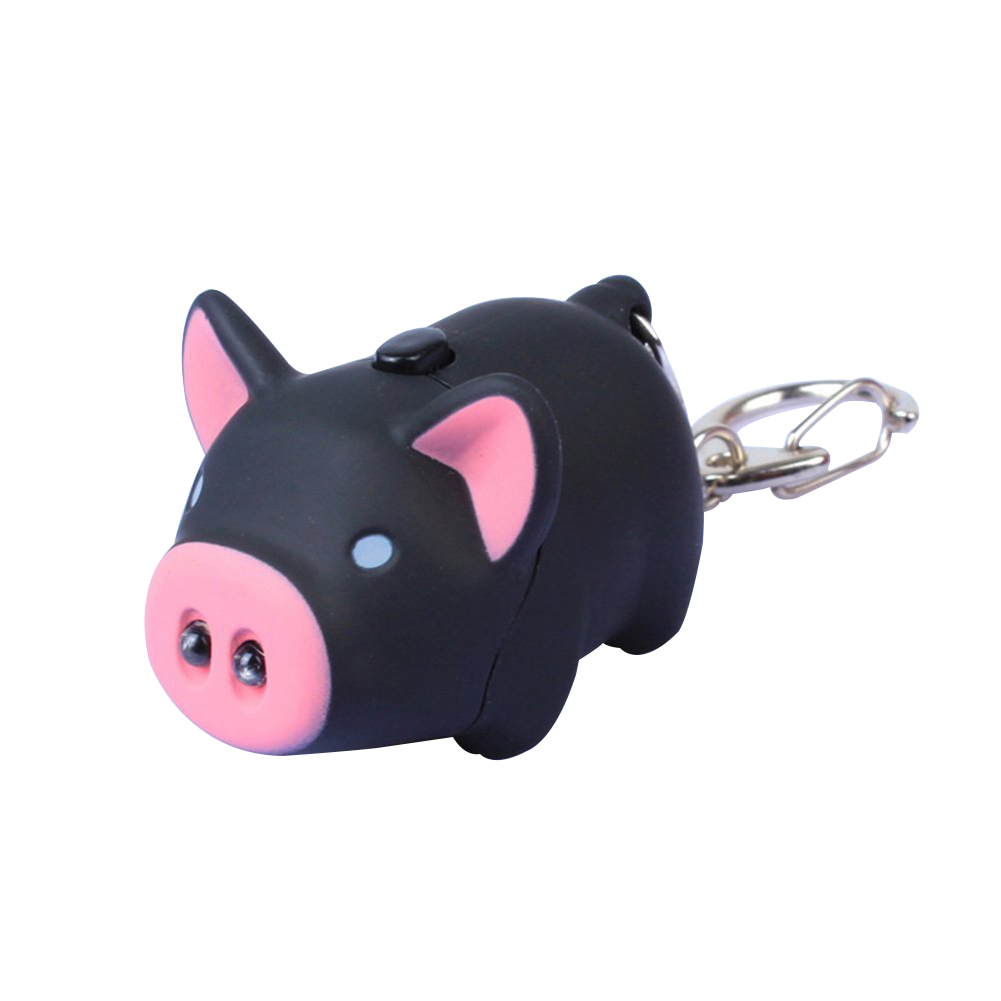 LED Light Sound Key Chain Cute Pig Style Keyring Car Bag Pendant Decoration Gift