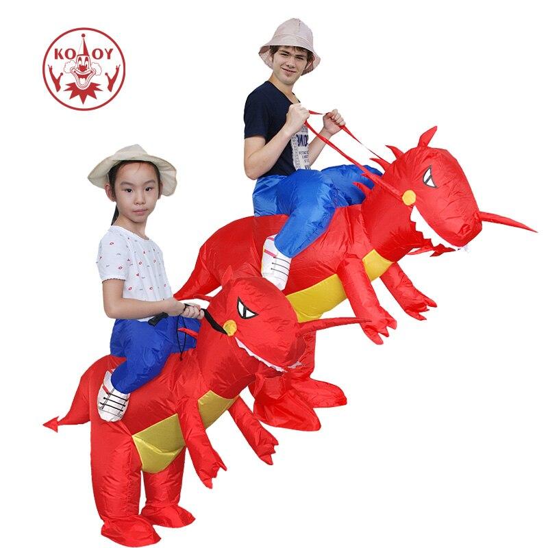 KOOY Fabrikverkauf Aufblasbare Dinosaurier Kostüm Cosplay Kühlen Männer Fahrt auf Rot Dino Halloween Kostüme für Erwachsene Kinder
