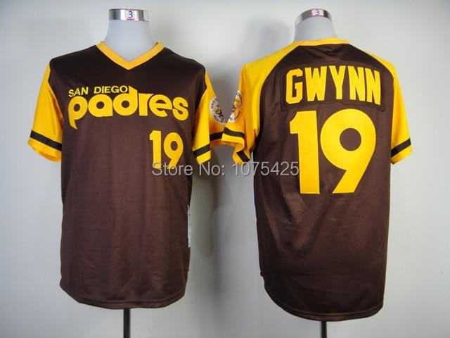 pretty nice f34eb 4d92d TOP Quality #19 Tony Gwynn Jersey White/Brown San Diego ...