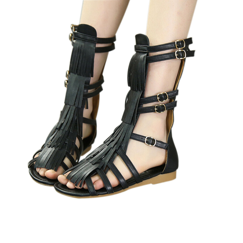 Hot-Selling 2016 Summer Sandals Child Sandals Female Child High Gladiator Cool Boots Long Rivet Fashion Cutout Shoes  XZ007 summer children shoes child sports sandals female male child sandals black gauze sandals