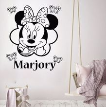 цены Vinyl Wall Decals Minnie Mouse Wall Stickers Custom Baby Name Vinyl Sticker Nursery Wall Art Mural Girls Kids Room Decor AY384