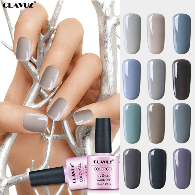 CLAVUZ 10ml UV Gray Nail Gel Nail Polish Nude Color Nail Gel Polish ...