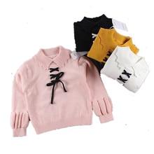 Funfeliz Sweaters for Girls Solid Color Turtleneck Sweater Kids 2018  Autumn Winter Knitwear Pullover baby Girl Cardigan 1-7