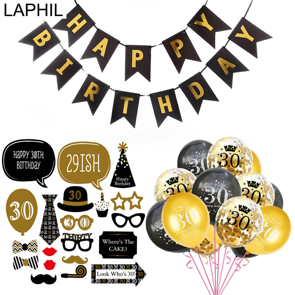 LAPHIL 30th Birthday Balloons Happy Banner Photobooth Props Party Decorations Adult 30 Years Favors In DIY