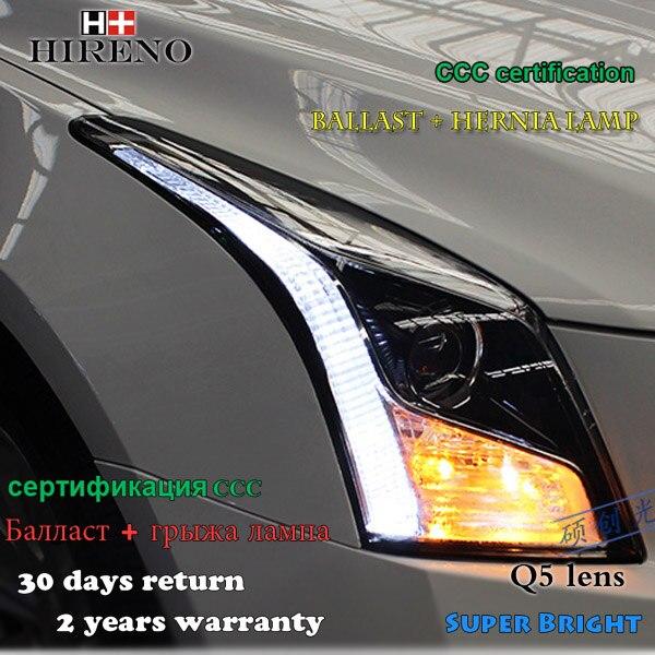 Hireno Headlamp for 2014-2017 Cadillac ATS-L ATS Headlight Assembly LED DRL Angel Lens Double Beam HID Xenon 2pcs