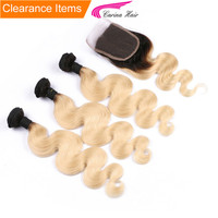 Carina hair Brazilian Remy Human Hair Ombre Blonde Hair 3 Bundles With 4x4 Lace Closure 1B/613 Body Wave Color Hair Wefts