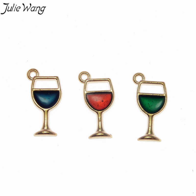 ג 'ולי וואנג 12PCS גביע קסמי צבעוני אמייל יין ב זכוכית אבץ סגסוגת קטן תליון DIY חמוד עגיל תכשיטי ביצוע אבזר