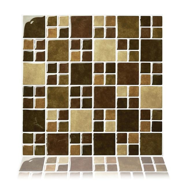 Cocotik L And Stick Vinyl Sticker Kitchen Backsplash Tiles 10 X Brown Stone Pack