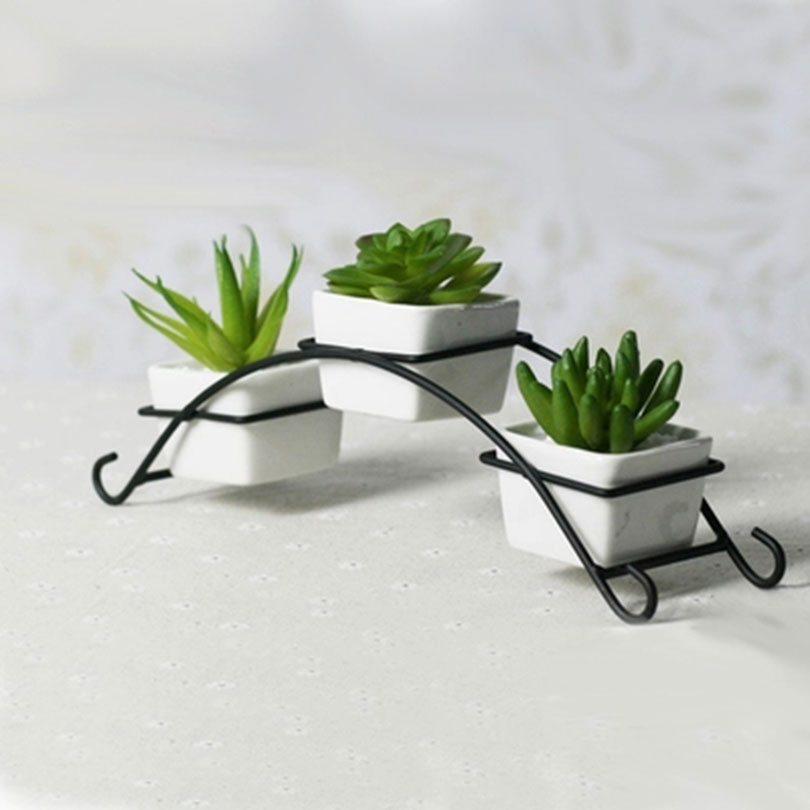 Iron stand with ceramic flower pots planters desktop accessories retro ironrack creative design - Great decorative flower vase designs ...