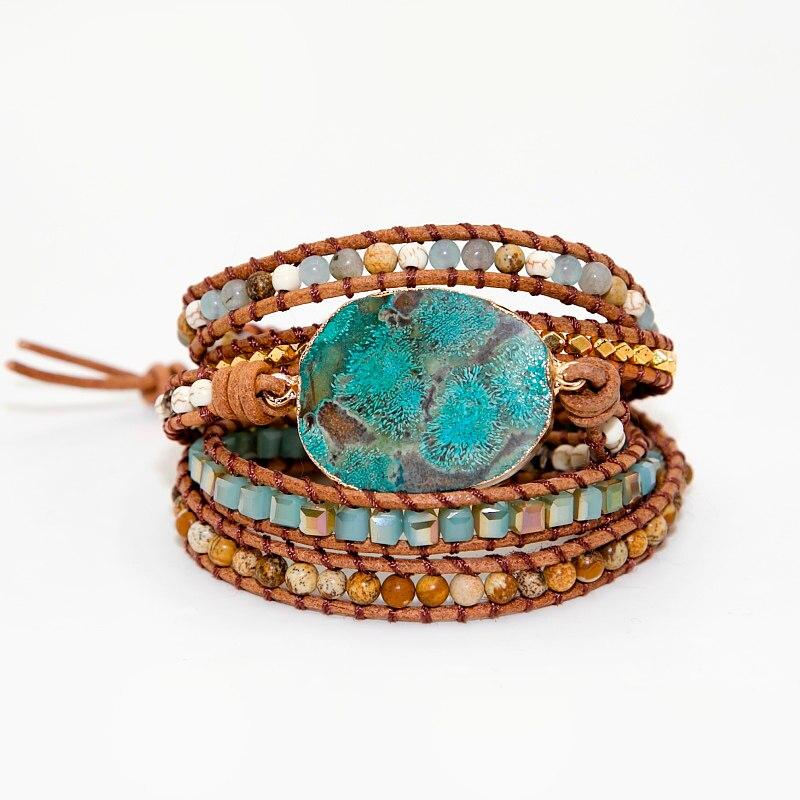 3f14707d5438 Pulseras de cuero auténtico para las mujeres de piedra Natural 5 hilos  pulsera Boho Vintage tejido