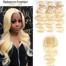 Rebecca Fashion – mèches brésiliennes naturelles, cheveux ondulés, blond 613, avec Closure, lots de 3
